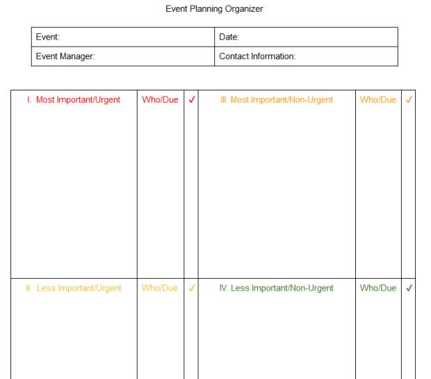 Event Planning Organization Chart